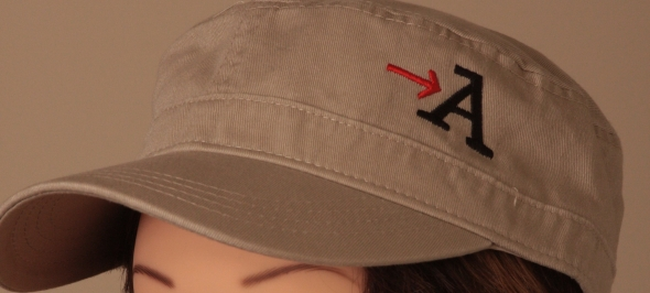 Military style cap embroidery